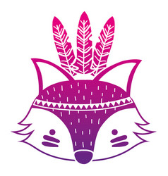 Color silhouette cute fox head animal with vector