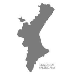 comunitat valenciana spain map grey vector image