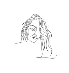 Continuous one line woman face with long beautiful vector
