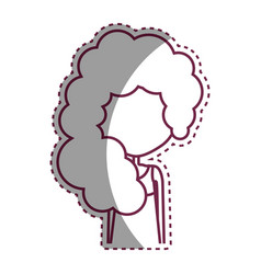 Contour woman with casual cloth and hairstyle icon vector