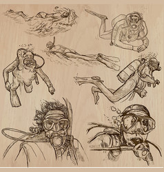 Diving - an hand drawn collection divers vector