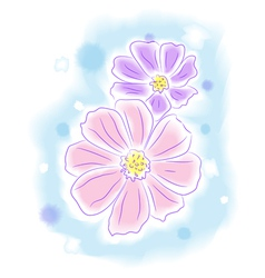 Flowers water color style painting vector