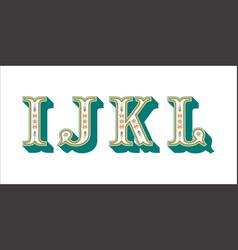 Folk alphabet ornamental floral letter i j k l vector