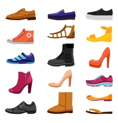 Footwear Colored Icons Set vector