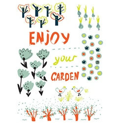 Gardening funny card with trees flowers birds and vector