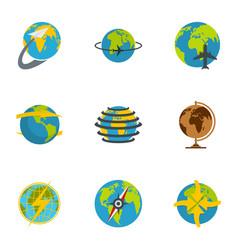 globe icons set flat style vector image