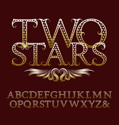 Gold patterned letters with tendrils vintage font vector