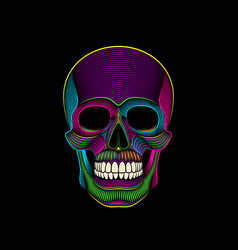 graphic print of stylized psychedelic skull on vector image
