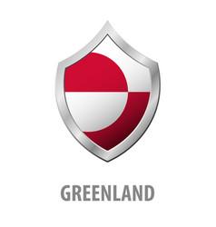 Greenland flag on metal shiny shield vector