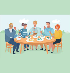 group of friends resting and eating on the nature vector image