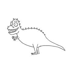 hand drawn cartoon dinosaur tyrannosaurus rex t vector image