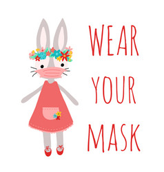 happy easter wear your mask stay home vector image