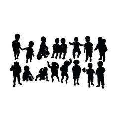 happy kid activity silhouettes vector image
