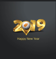 Happy new year 2019 golden typography with cyprus vector