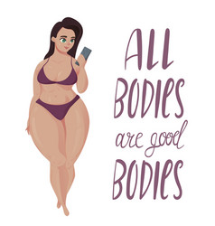 Happy plus size girl body positive concept vector