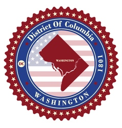 Label sticker cards district columbia usa vector