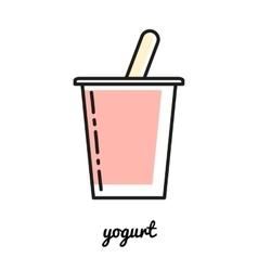 Line art yogurt icon Infographic element vector
