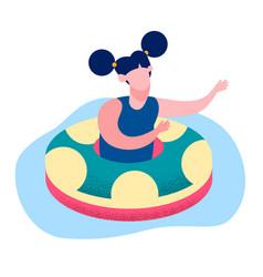 Little girl floating ring flat vector