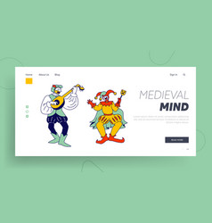 Medieval characters minstrel and buffoon website vector
