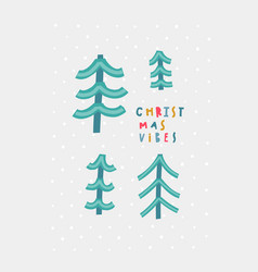 Merry christmas vibes tree snow forest postcard vector