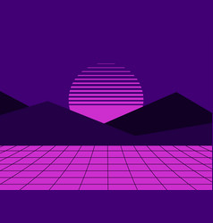 neon sunset in the style of 80s simulation vector image