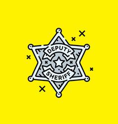 Old deputy sheriff badge icon vector