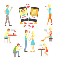 online dating app people finding love using vector image