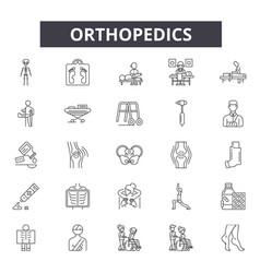 Orthopedics line icons signs set linear vector
