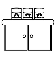 pet shop wooden drawer with food products vector image