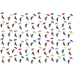 pictogram people flying with umbrellas vector image