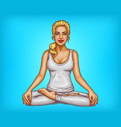 pop art smiling girl sitting in lotus pose vector image