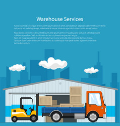 Poster of warehouse and delivery services vector