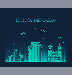 reno skyline nevada usa city linear style vector image