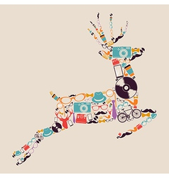 Retro hipsters icons reindeer vector