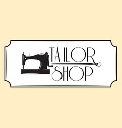 Retro style emblem with sewing machine vector