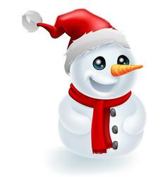 santa hat christmas snowman vector image