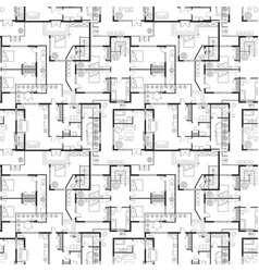 seamless pattern of architectural plans vector image