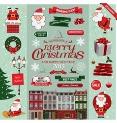 set christmas decorative design elements vector image