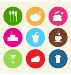 Set icons of food and drinks in flat style vector image