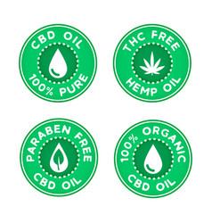 set medical using cbd hemp oil 100 percent vector image