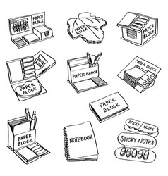 set of hand drawn paper products doodles isolated vector image