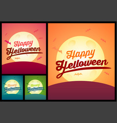 set of happy helloween greating cards creepy vector image