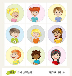 Set of kids avatar icons vector