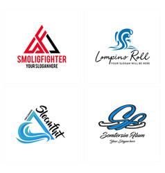 Set of wordmark splash water logo design vector