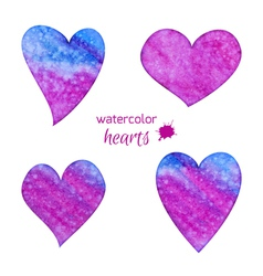 set watercolor hearts vector image