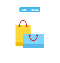 shopping bags flat symbol icon vector image
