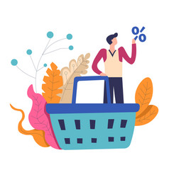 Shopping man with big basket and percent sale vector