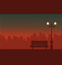 Silhouette of street lamp at night landscape vector