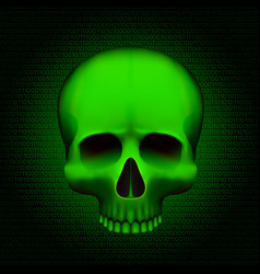 skull is a program virus on digital background vector image