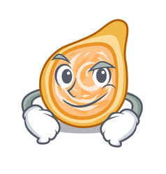 Smirking snacks coxinha on a character plates vector